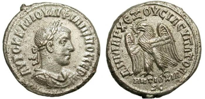 Ancient Coins - PHILIP II. BILLON TETRADRACHM. ANTIOCH, SYRIA. NICE & AFFORDABLE