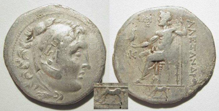 Ancient Coins - ALEXANDER THE GREAT. TETRADRACHM. TROAS ?. NICE ISSUE W/ COUNTERSTAMP
