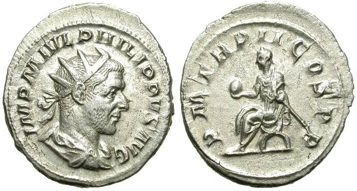 Ancient Coins - PHILIP I. ANTONINIAN. GOOD STRIKE. EMPEROR SITTING ON REVERSE