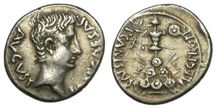 Ancient Coins - AUGUSTUS. SILVER DENARIUS. P. CARISIUS. RARE