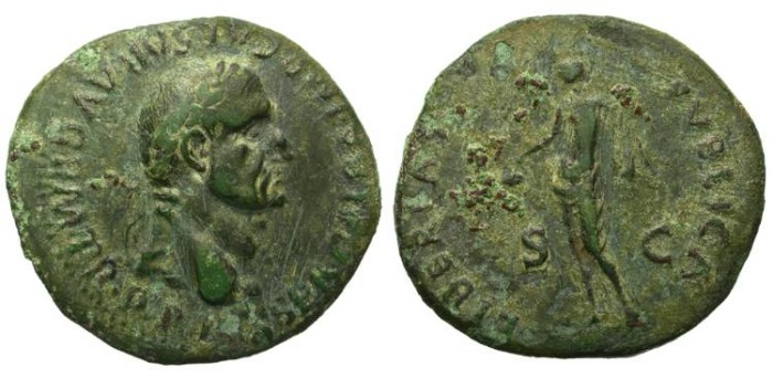 Ancient Coins - GALBA. AS. EXCELLENT PORTRAIT. ATTRACTIVE OLIVE GREEN PATINA