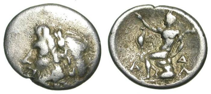 Ancient Coins - MEGALOPOLIS. ARKADIAN LEAGUE. TRIOBOL. INTERESTING ISSUE