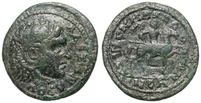 Ancient Coins - ALEXANDER THE GREAT AS HERAKLES. BRONZE PROVINCIAL POSTHUMOUS ISSUE. KOINON MAKEDONON. NICE !