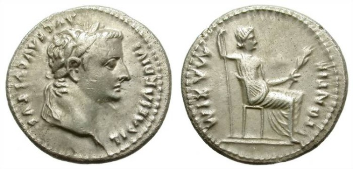 """Ancient Coins - TIBERIUS. AD 14-37.  SILVER DENARIUS. """"Tribute penny"""". ATTRACTIVE AND GOOD GENERAL QUALITY."""