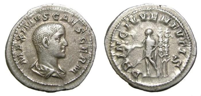 Ancient Coins - MAXIMUS  DENARIUS.  SCARCE.  A. D. 235-238.