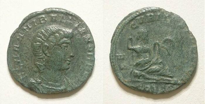 Ancient Coins - Hannibalianus. Half centennional. VF. Great portrait.
