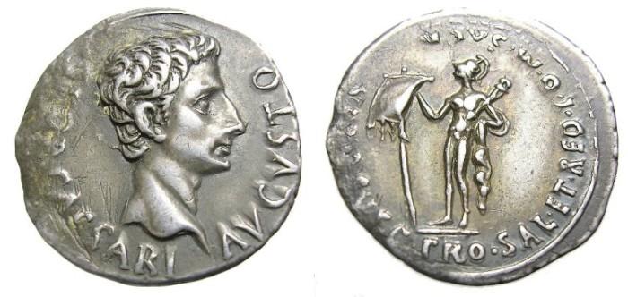Ancient Coins - AUGUSTUS  DENARIUS.  INTERESTING  REVERSE.