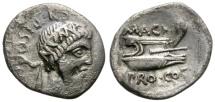 Ancient Coins -  SEXTUS POMPEIUS MAGNUS.  49 BC. AR DENARIUS. SCARCE.