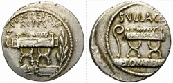 Ancient Coins - ROMAN REPUBLIC. SILVER DENARIUS. POMPEIA 5. W. ORIGINAL LUSTER AMONG DEVICES