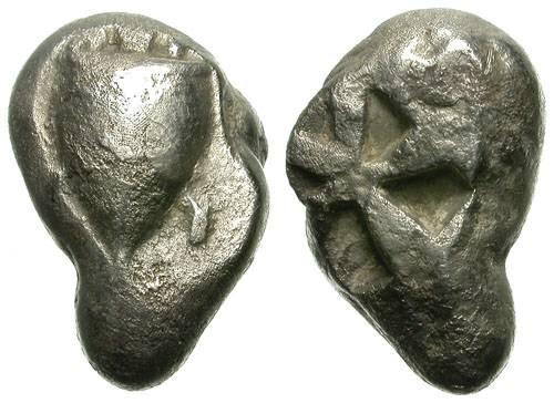 Ancient Coins - AEGINA. STATER. ARCHAIC PERIOD. CRAZY IRREGULAR ALMOND SHAPE: SO INTERESTING !