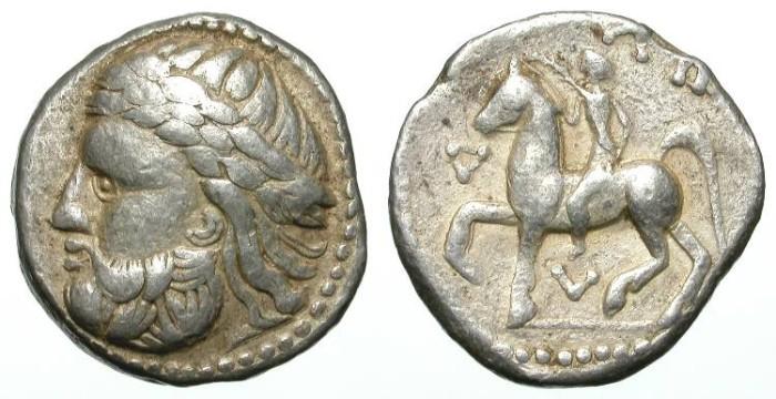 Ancient Coins - PHILIP II OF MACEDON. TETRADRACHM. CELTIC IMITATION. NICE VF. WONDERFUL LEFT SIDE PORTRAIT !