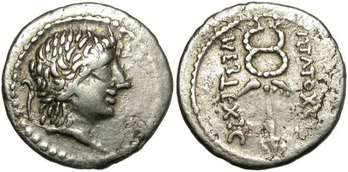 """Ancient Coins - ROMAN REPUBLIC. IMITATIVE DENAR. """" PLAETORIA 5"""". RARE."""