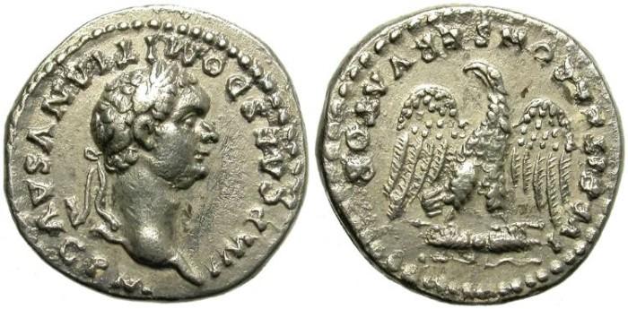 Ancient Coins - DOMITIAN. SILVER DENARIUS. BEAUTIFUL AND SCARCE REVERSE. ROME MINT