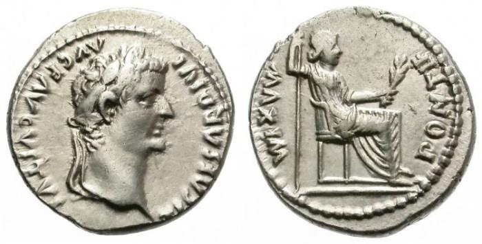 Ancient Coins - TIBERIUS. SILVER DENARIUS. LUGDUNUM. NICE TRIBUTE PENNY