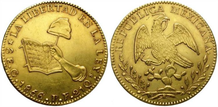 Ancient Coins - MEXICO. 8 ESCUDOS. GUANAJUATO. 1856. EF. NICE CONDITION !