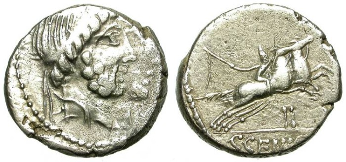 Ancient Coins - ROMAN REPUBLIC. SILVER  DENARIUS.MARCIA 18. INTERESTING ISSUE