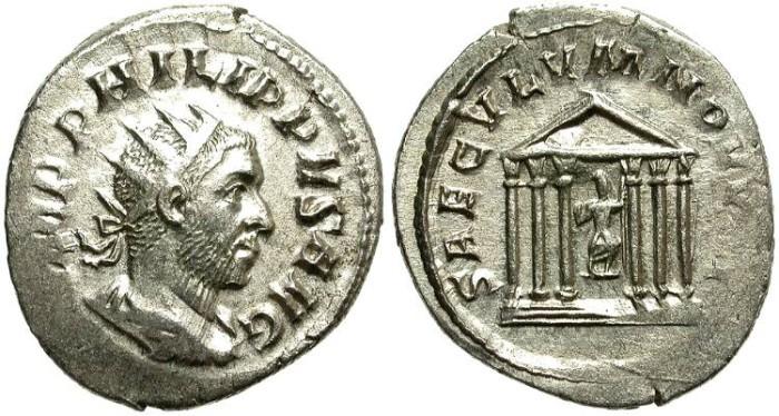 Ancient Coins - PHILIP I, 244 - 249 A.D.  AR ANTONINIANUS.  ATTRACTIVE BUST.
