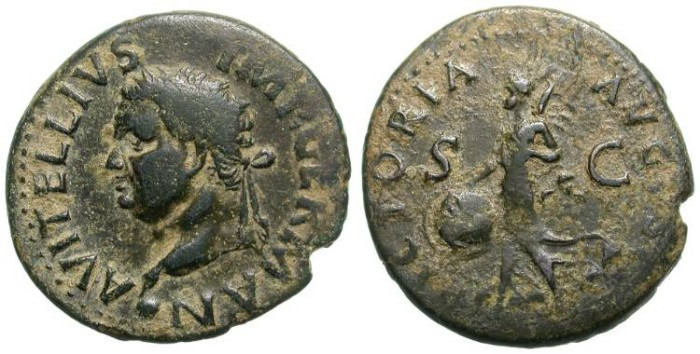 Ancient Coins - VITELLIUS. AS. VERY ATTRACTIVE & RARE ISSUE