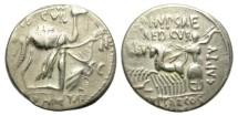 Ancient Coins - ROMAN REPUBLIC. SILVER DENARIUS. AEMILIA-8. GOOD SAMPLE.