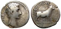 Ancient Coins - AUGUSTUS. DENARIUS. SAMOS MINT. STANDING BULL TO RIGHT ON REV. RARE ISSUE