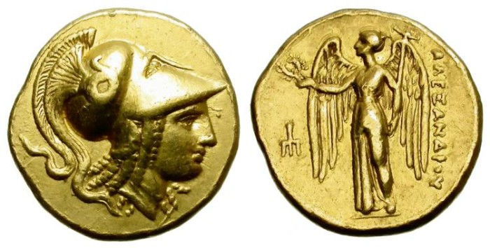 Ancient Coins - ALEXANDER THE GREAT. GOLD STATER. NICE ATHENA DEPICTION.