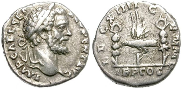 Ancient Coins - SEPTIMIUS SEVERUS.  SILVER DENARIUS.  BEAUTIFUL COIN.