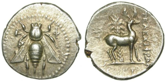 Ancient Coins - EPHESUS, IONIA. DRACHM. VERY NICE GOLDEN TONING