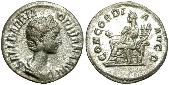 Ancient Coins - ORBIANA.  SILVER  DENARIUS.  SCARCE.  CENTERED.