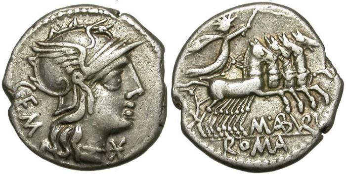 Ancient Coins - ROMAN REPUBLIC. SILVER DENARIUS. ABURIA