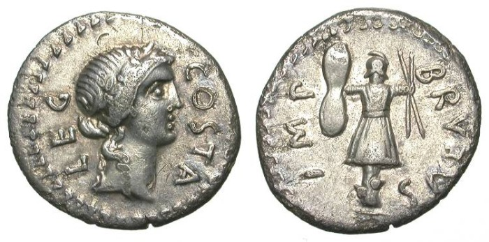 Ancient Coins - BRUTUS, CAESAR´S ASSASIN. DENAR. NICE VF. INTERESTING IMPERATORIAL ISSUE !