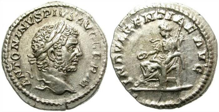 Ancient Coins - CARACALLA.  SILVER DENARIUS. A.D. 198-217.  ATTRACTIVE BUST.