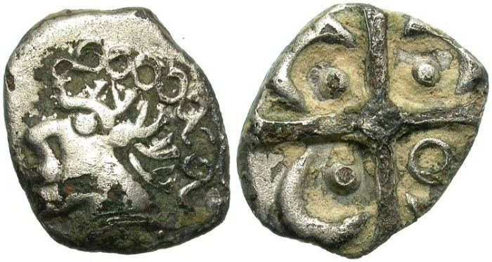 "Ancient Coins - BEAUTIFUL FOUREE GALLIC DRACHM. ""A LA CROIX"" CELTIC TYPE. NEMAUSUS (NIMES) AREA."
