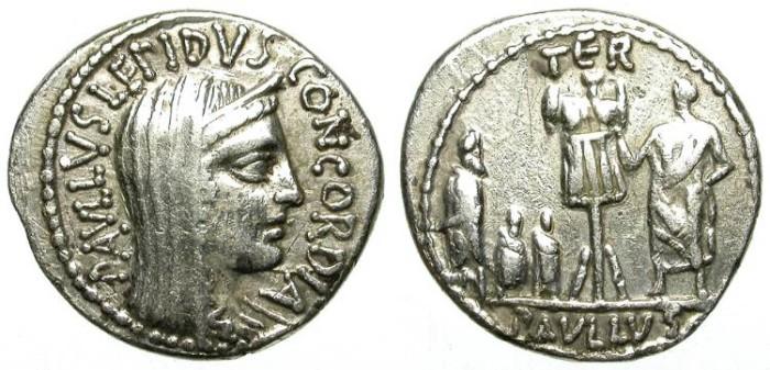 Ancient Coins - ROMAN REPUBLIC. SILVER DENAR. ATTRACTIVE AEMILIA 10 /2