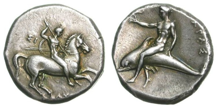 Ancient Coins - TARAS. STATER. EF. GREAT QUALITY IN BOTH OBVERSE AND REVERSE