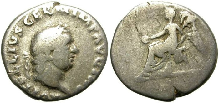 Ancient Coins - VITELLIUS. SILVER DENARIUS. ANEPIGRAPHIC REVERSE. GOOD SILVER