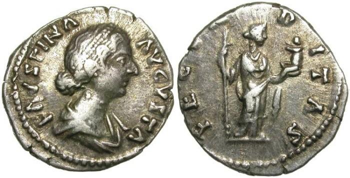 Ancient Coins - FAUSTINA II. SILVER DENARIUS. SECURITAS