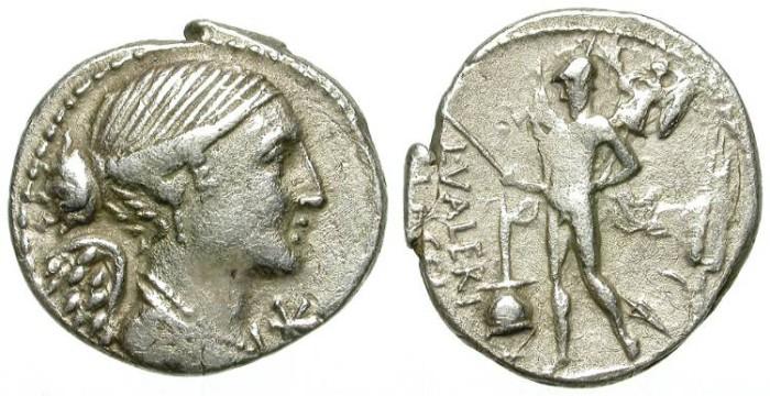 Ancient Coins - ROMAN REPUBLIC. SILVER DENARIUS. VALERIA 11. ATTRACTIVE OBVERSE