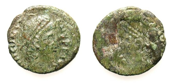 Ancient Coins - BARBARIC LATE ROMAN AE3 BROCKAGE. INTERESTING ISSUE !