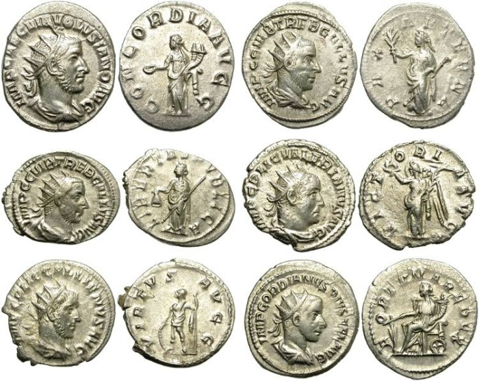 Ancient Coins - LOT OF 6 SILVER ANTONINIANUS. SOME SCARCE EMPERORS /2