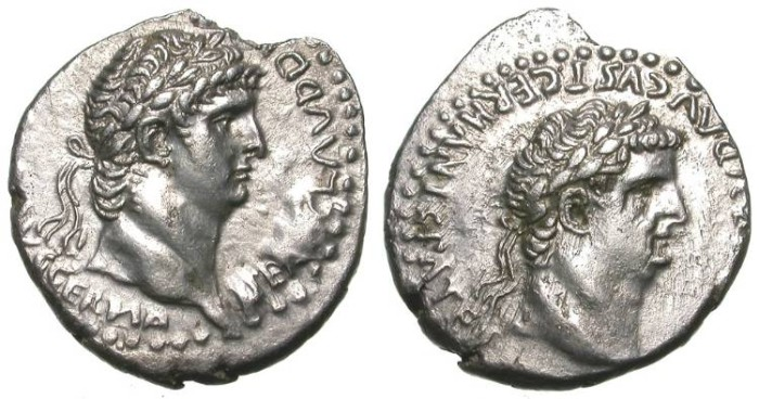 Ancient Coins - CLAUDIUS & NERO. ATTRACTIVE DIDRACHM. CAESAREA in CAPPADOCIA. LATIN LEGEND. SO RARE !
