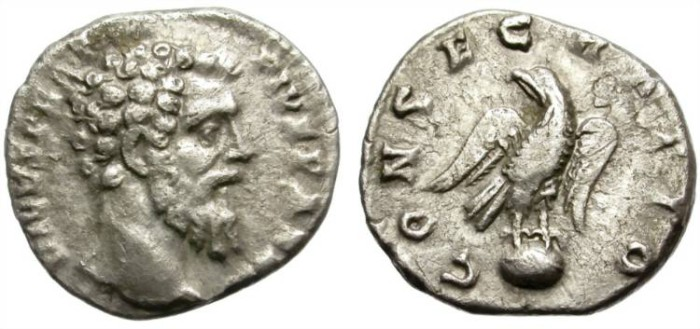 Ancient Coins - DIVO PERTINAX. VERY RARE SILVER DENARIUS. CONSECRATIO ON REVERSE