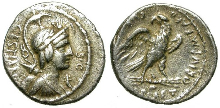 Ancient Coins - ROMAN REPUBLIC. SILVER DENARIUS. PLAETORIA 4. SCARCE & ATTRACTIVE ISSUE