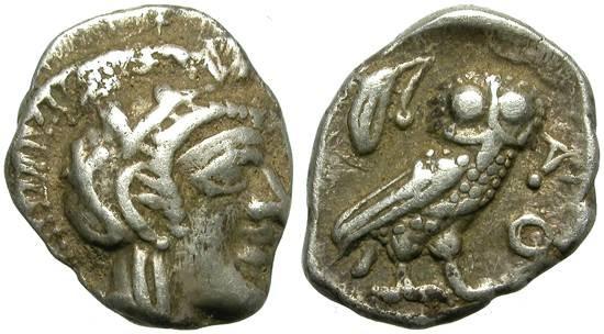 Ancient Coins - ATTICA, ATHENS.  OBOL.  A VERY NICE MINIATURE.