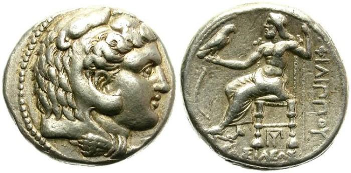 Ancient Coins - PHILIP III AHRRIDEOS, 323-300 B.C.. SILVER TETRADRACHM. GOOD SILVER. NICE CONDITION.