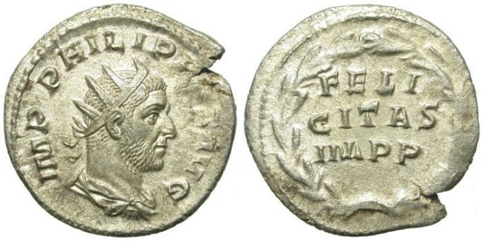 Ancient Coins - PHILIP I. SILVER ANTONINIAN. VERY RARE REVERSE. LAUREATE & FELICITAS