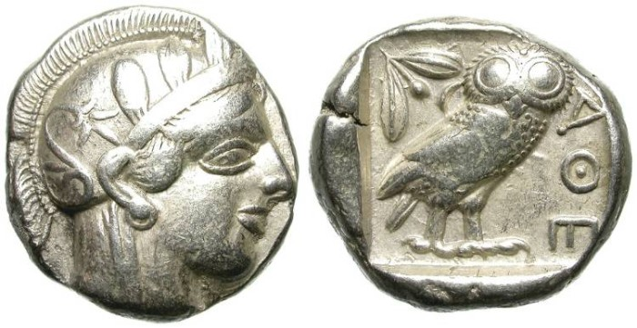 Ancient Coins - ATTICA. ATHENS. SILVER TETRADRACHM. FULL CREST. NICE /2 !
