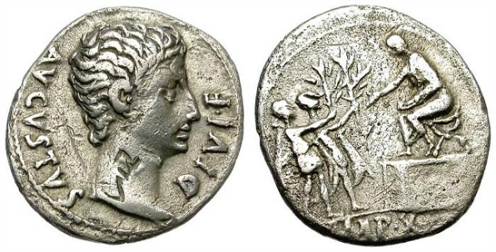 Ancient Coins - AUGUSTUS. 15 - 13 BC. SILVER DENARIUS. LUGDUNUM MIT. VERY DECENT PORTRAIT. SCARCE.