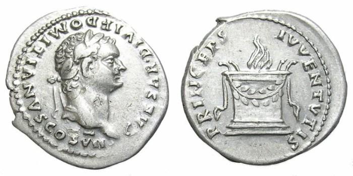 Ancient Coins - DOMITIAN  DENARIUS.  INTERESTING  OBVERSE.