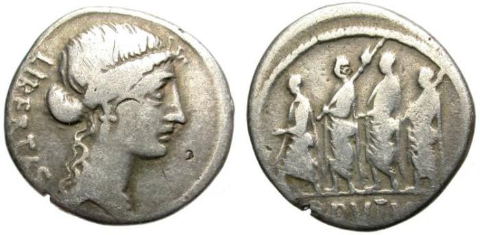 Ancient Coins - ROMAN REPUBLIC. SILVER DENARIUS. M. IUNIUS BRUTUS. VERY INTERESTING ISSUE