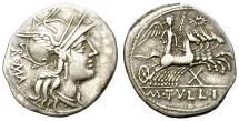 Ancient Coins - ROMAN REPUBLIC. SILVER DENARIUS. TULLIA 1. 120 B.C. NICELY TONED. ATTRACTIVE ISSUE